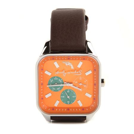 橙色可愛錶盤五針皮鏈腕錶